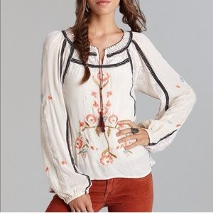Free People Tiger Lily embroidered top RARE